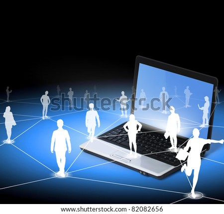 worker standing on a virtual connection, network on a laptop