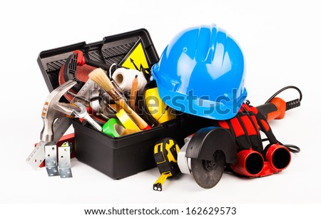 worker tools isolated on white