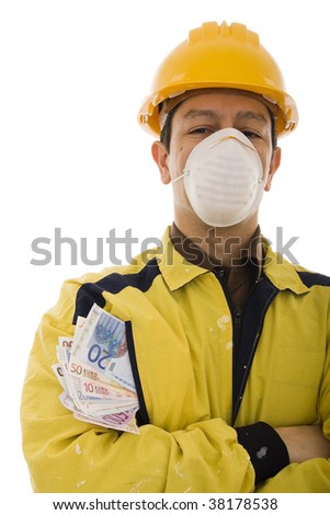 Worker wearing a yellow protective workwear with many banknotes in the pocket