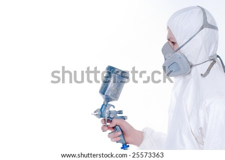 Worker with airbrush gun, copy-space for your text or image
