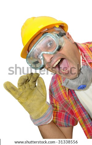 worker with glasses and mask isolated in white