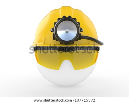 Worker with helmet and head lamp. 3D illustration