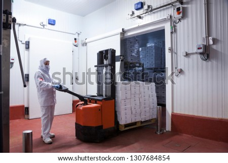 worker with hygienic clothes removing a pallet of boxes from the freezer camera of the meat cutting room #1307684854