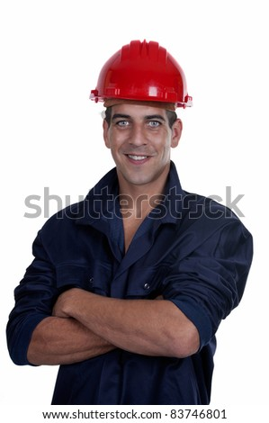 worker with red helmet isolated