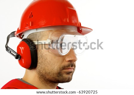worker with red helmet over white