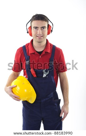 worker with safety equipment isolated on white background