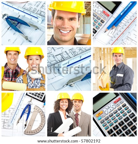 Workers, contractors, pencil and calculator over a construction drawing