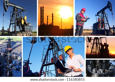 Workers in an Oilfield, split screen, best focus on businesswoman