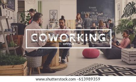 Workers of modern agency having break, coworking office ストックフォト ©