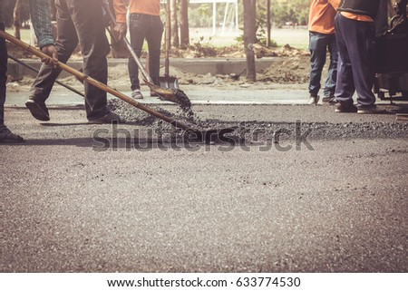 Workers on a road construction stock photo