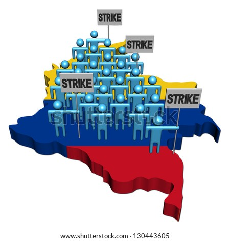 workers on strike on Colombia map flag illustration