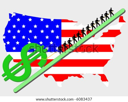 Workers pulling giant dollar sign with American map and flag JPG
