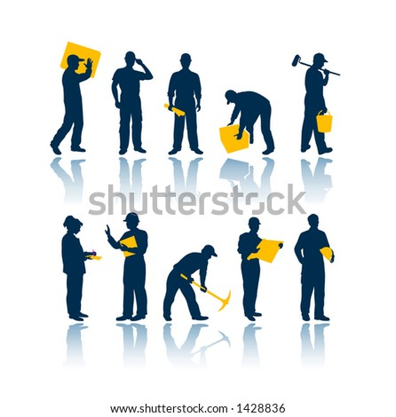 "Workers silhouettes. To see all my silhouettes, search by keywords: ""agb-svect&quo t; or ""agb-srastr&qu ot; - stock photo"
