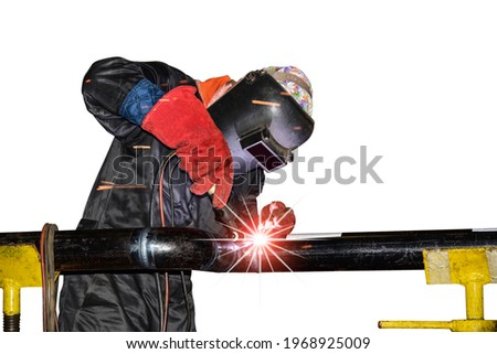 Workers welding on metal steel pipe by Tig gas inert isolated on white background Photo stock ©