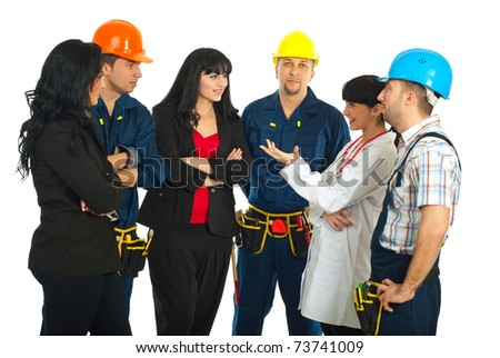 Workers with different careers having a conversation isolated on white background
