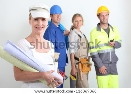 workers with one in the foreground