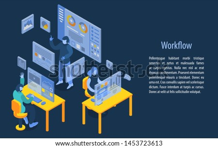 Workflow management concept banner. Isometric illustration of workflow management concept banner for web design
