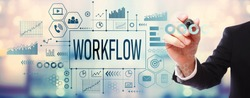 Workflow with businessman on blurred abstract background