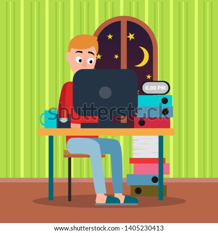 Working at midnight man with orange hair red sweater and blue trousers color raster illustration green wallpaper yellow stars moon black laptop