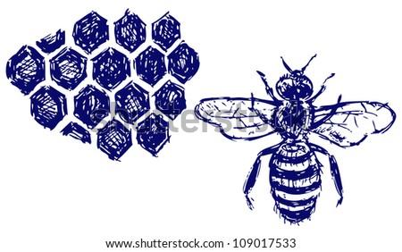 Working bee on honeycells. Raster