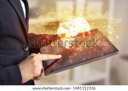 Working business woman with global reports and stock market change concept