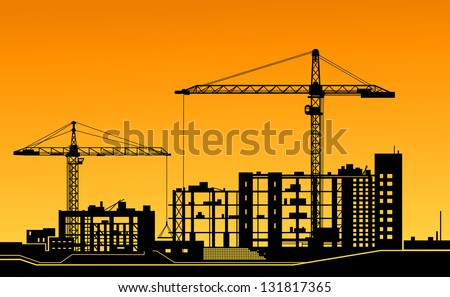 Working cranes on building for construction industry design. Vector version also available in gallery