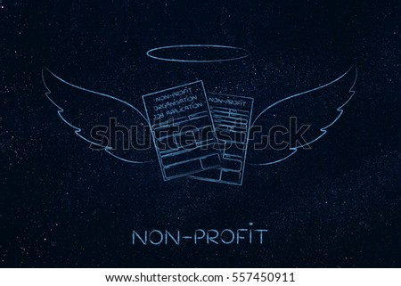 working for a charity, conceptual: nonprofit organization enrollment or fundraising forms with angel wings
