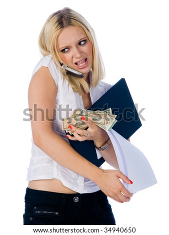working girl with mobile phone laptop and documents in stress situation
