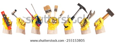 Working gloves with tools #255153805