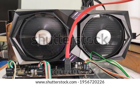 Working graphics card close up Stok fotoğraf ©