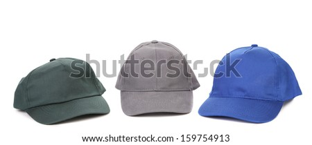 Working gray green and blue caps.  Isolated on a white background.