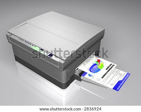 Working laser printer 3d - stock photo