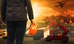 working man in container dock and air ,land transport ,import export logistic cargo freight and shipping commercial service industry