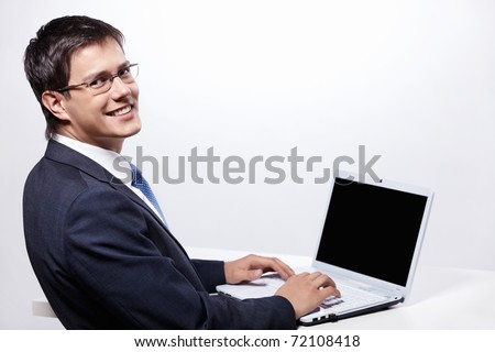 Working man with a laptop on a white background