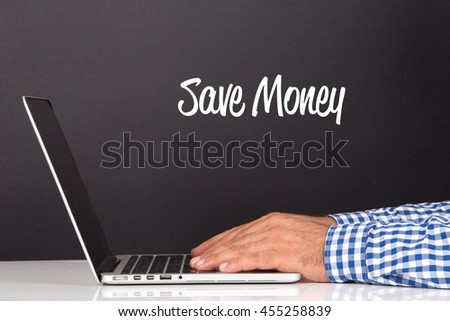 WORKING OFFICE COMMUNICATION PEOPLE USING COMPUTER SAVE MONEY CONCEPT #455258839