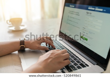 working on laptop, close up of hands of business woman #520849861
