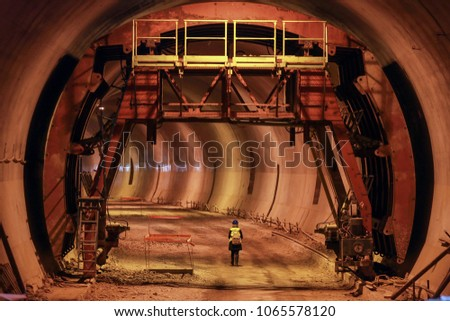 Working on the tunnel. Tunnel construction site stock photo