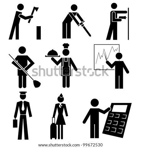 Working people, different occupations black icon set - stock photo