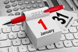 Working place and calendar 2021 January 1