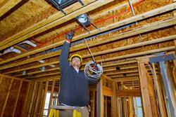 Working process on of electrical wires in installing electrical cable wire in new house construction site