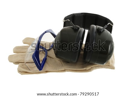 Working protection set including pair of gloves, glasses and anti-noise headphones isolated on white background