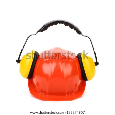 Working protective headphones on hard hat.