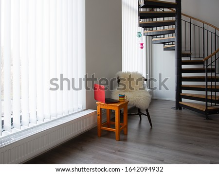 Working space with chair, laptop and coffee. Stock photo ©