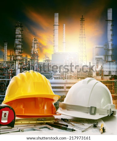working table of engineer in oil refinery industry plant use for heavy industry and energy manufacturing in industrial business