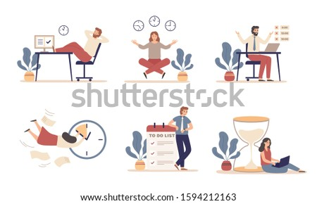 Working time planning. Work schedule, organize works productivity and tasks time management. Office work time activities, it team productive deadline plan. Flat isolated icons  illustration set