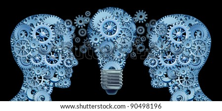 Working together as a team for innovative strategies and creating new ideas and products with leadership and education represented by two human heads and a lightbulb in the shape of gears and cogs .
