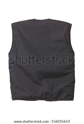 Working winter vest. Back view. Isolated on white background.
