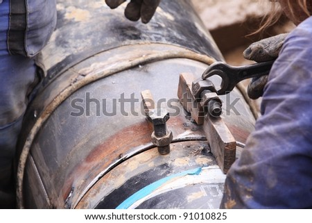 working with pipe - stock photo