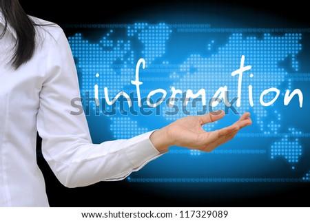 working women hand holding information