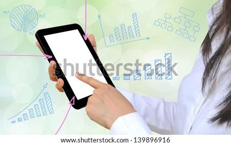 working women hand pushing a business graph